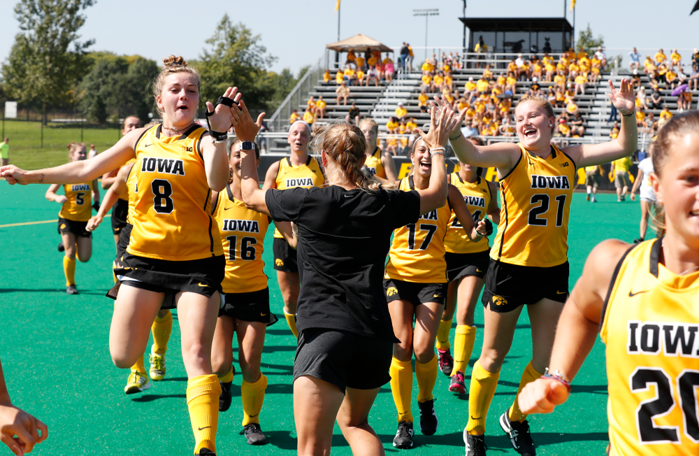 Iowa Hawkeyes Nikki Freeman (8) and Makenna Maguire (21) before their game against Indiana Sunday, September 16, 2018 at Grant Field. (Brian Ray/hawkeyesports.com)