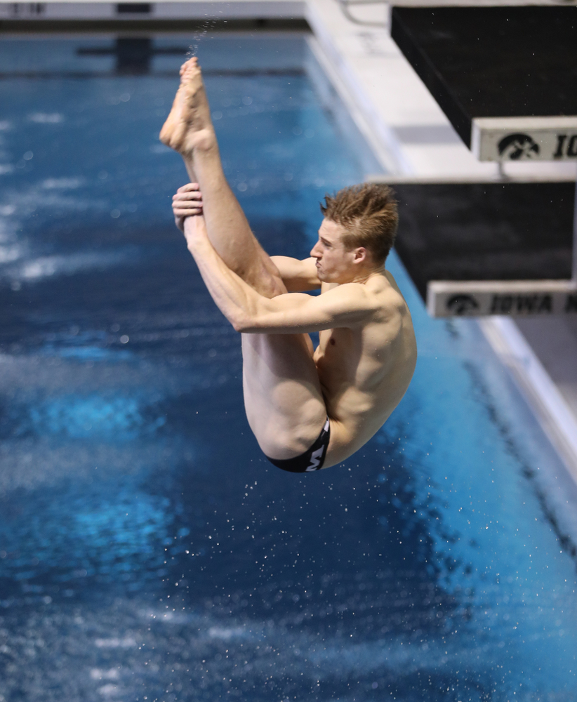 Iowa's Will Brenner competes on the 1-meter springboard during the 2019 Big Ten Swimming and Diving Championships Thursday, February 28, 2019 at the Campus Wellness and Recreation Center. (Brian Ray/hawkeyesports.com)
