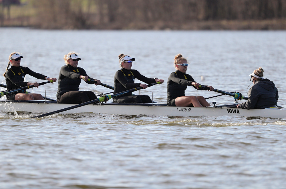 Iowa's Hunter Koenigsfeld (from left), Contessa Harold, Katie Pearson, Eve Stewart, and Logan Jones during their I Varsity 8 race against Minnesota in their Big Ten Double Dual Rowing Regatta at Lake Macbride in Solon on Saturday, Apr. 13, 2019. (Stephen Mally/hawkeyesports.com)