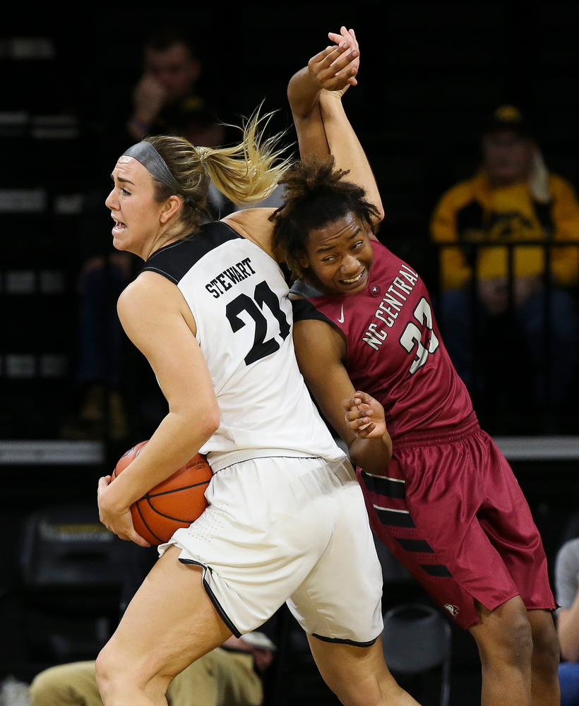 Iowa Hawkeyes forward Hannah Stewart (21) pulls down a rebound during a game against North Carolina Central at Carver-Hawkeye Arena on November 17, 2018. (Tork Mason/hawkeyesports.com)