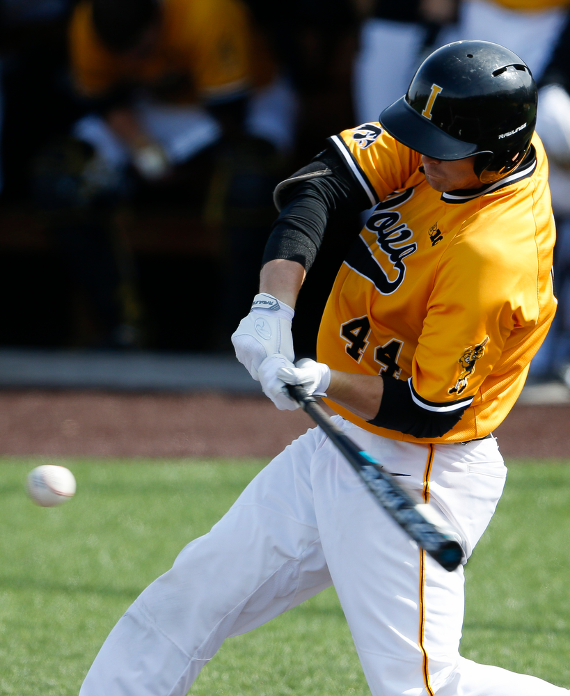 Iowa Hawkeyes outfielder Robert Neustrom (44) swings at a pitch during a game against Evansville at Duane Banks Field on March 18, 2018. (Tork Mason/hawkeyesports.com)