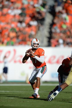 University of Miami Hurricanes quarterback Stephen Morris #17 plays in a game against the Georgia Tech Yellow Jackets at Sun Life Stadium on October...