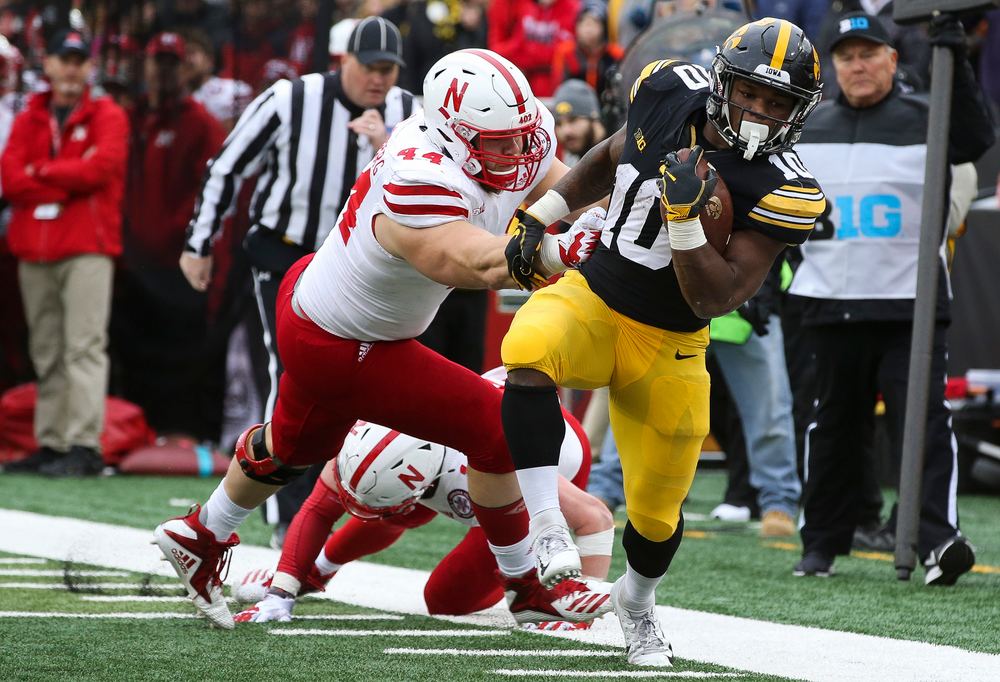 Iowa Hawkeyes running back Mekhi Sargent (10) runs the ball during a game against Nebraska at Kinnick Stadium on November 23, 2018. (Tork Mason/hawkeyesports.com)