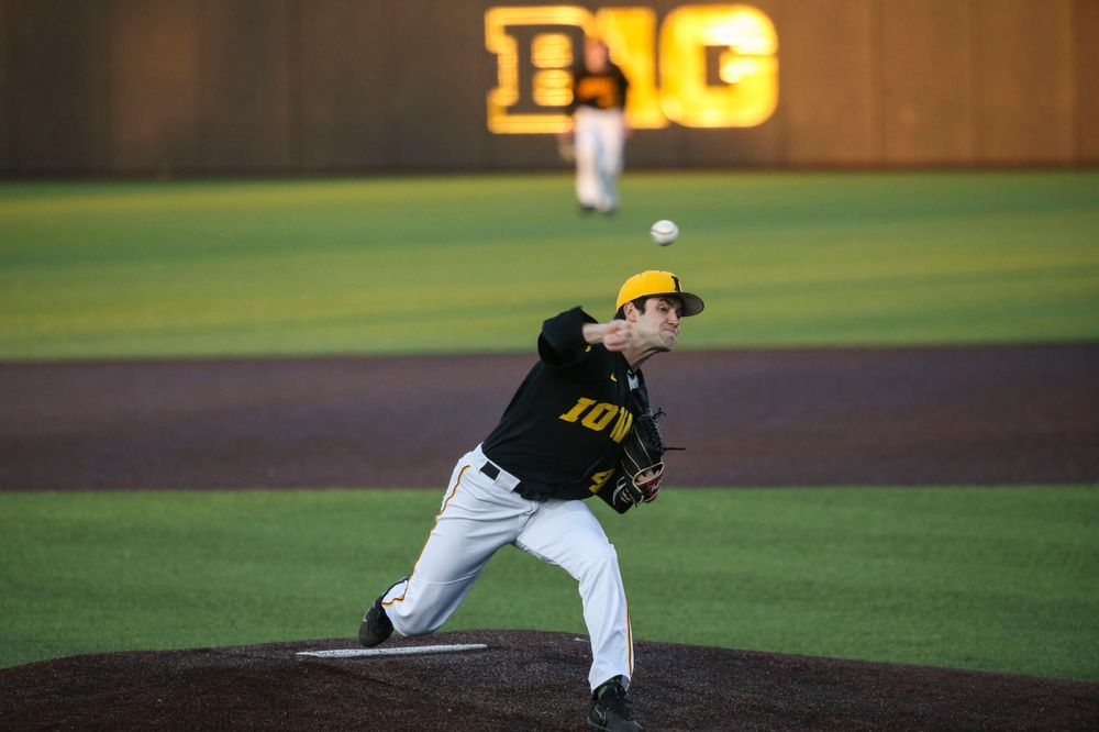 Iowa pitcher Grant Leonard at the game vs. Bradley on Tuesday, March 26, 2019 at (place). (Lily Smith/hawkeyesports.com)