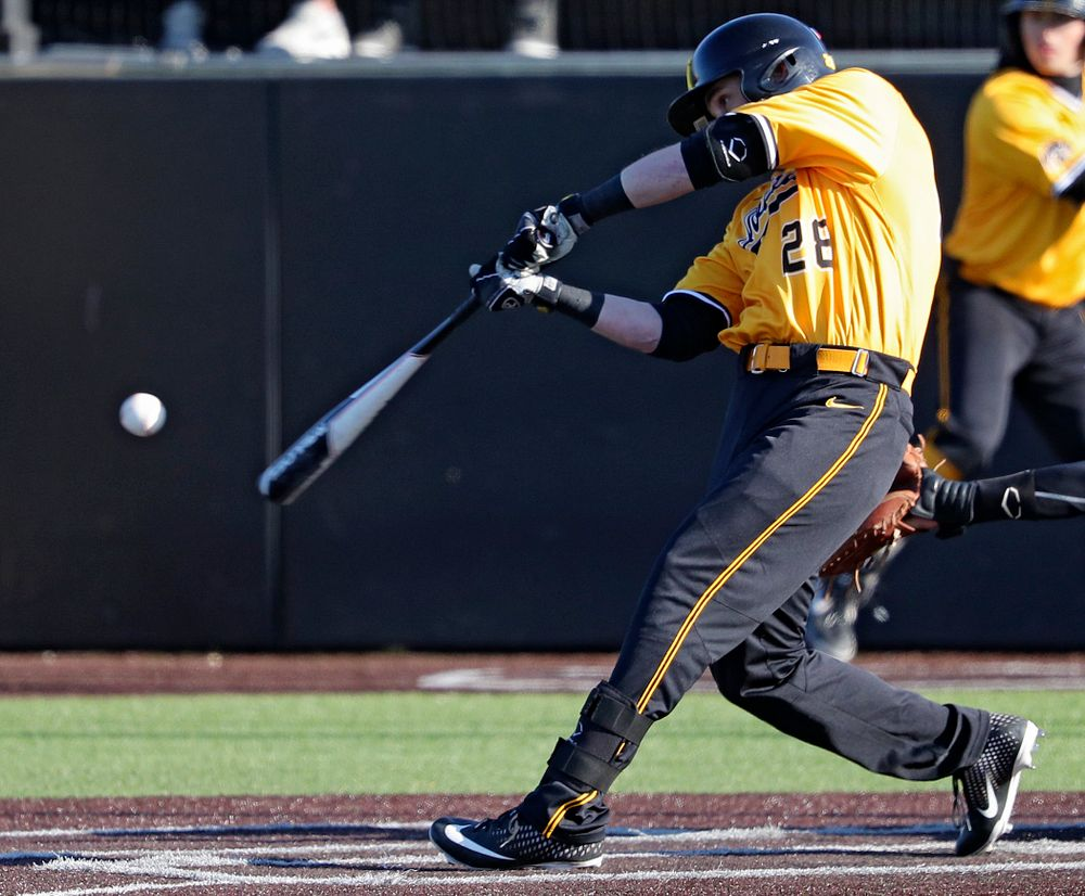 Iowa Hawkeyes left fielder Chris Whelan (28) bats during the fourth inning of their game at Duane Banks Field in Iowa City on Tuesday, Apr. 2, 2019. (Stephen Mally/hawkeyesports.com)