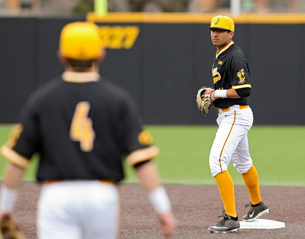Iowa Hawkeyes shortstop Matthew Sosa (31) steps on second base to complete a double play during the third inning of their game against Illinois State at Duane Banks Field in Iowa City on Wednesday, Apr. 3, 2019. (Stephen Mally/hawkeyesports.com)