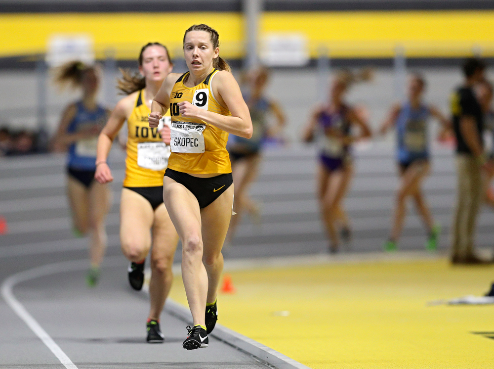 Iowa's Gabby Skopec runs the women's 1 mile run event at the Black and Gold Invite at the Recreation Building in Iowa City on Saturday, February 1, 2020. (Stephen Mally/hawkeyesports.com)
