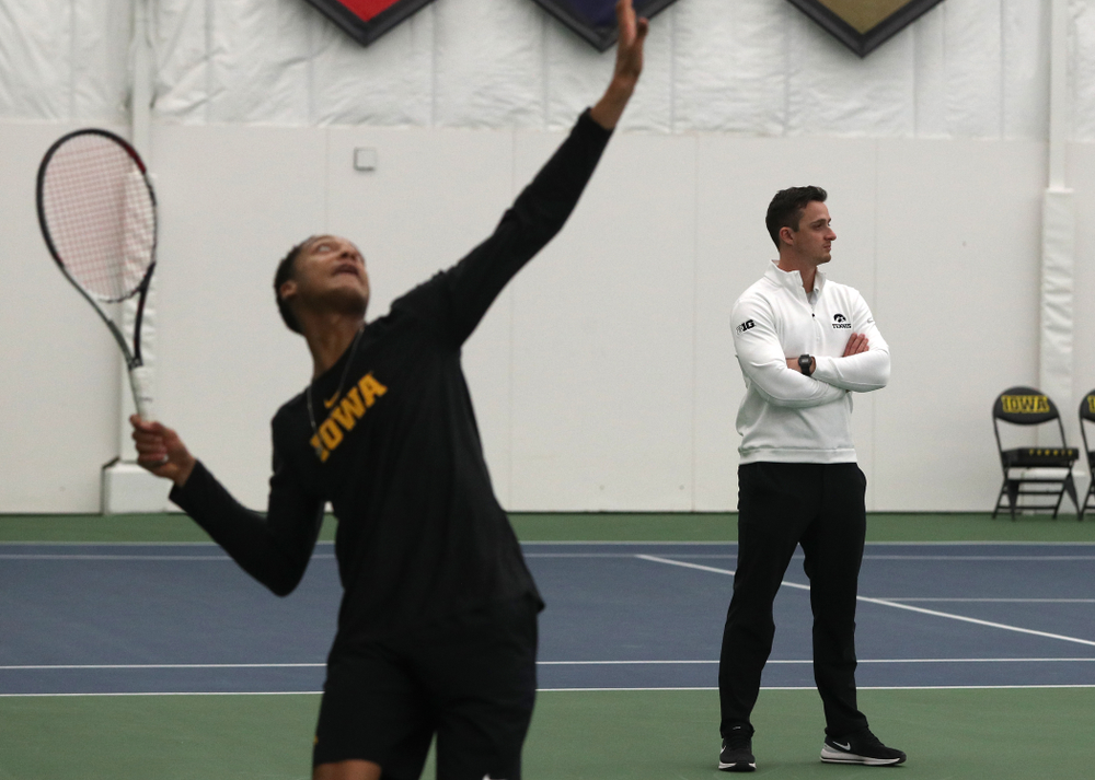 Iowa Hawkeyes assistant coach Joey Manilla against the Butler Bulldogs Sunday, January 27, 2019 at the Hawkeye Tennis and Recreation Complex. (Brian Ray/hawkeyesports.com)