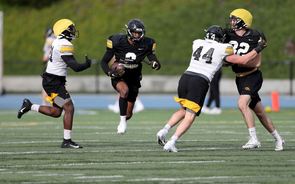 Iowa Hawkeyes wide receiver Ihmir Smith-Marsette (6) returns a kick during Holiday Bowl Practice No. 3  Tuesday, December 24, 2019 at San Diego Mesa College. (Brian Ray/hawkeyesports.com)