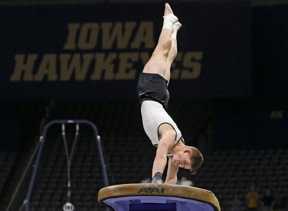 Iowa's Stewart Brown competes in the vault during the second day of the Big Ten Men's Gymnastics Championships at Carver-Hawkeye Arena in Iowa City on Saturday, Apr. 6, 2019. (Stephen Mally/hawkeyesports.com)