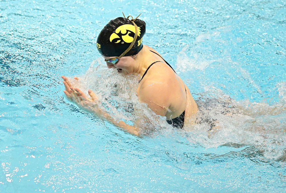 Iowa's Cc Crane swims the women's 100 yard individual medley event during their meet at the Campus Recreation and Wellness Center in Iowa City on Friday, February 7, 2020. (Stephen Mally/hawkeyesports.com)