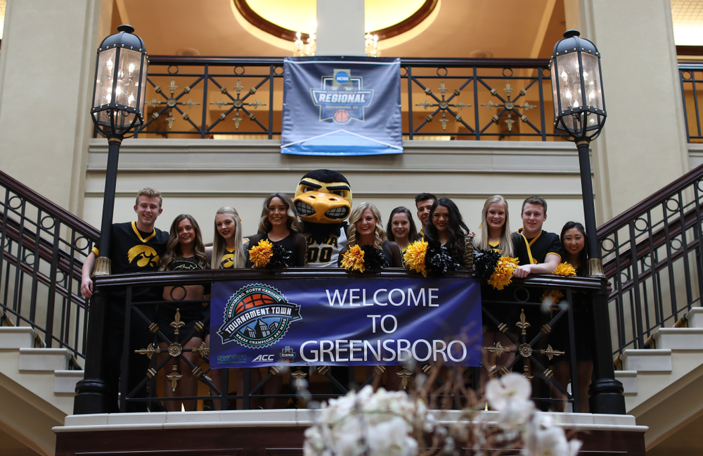 The Iowa Spirit Squad during a send off at the hotel before their game against the NC State Wolfpack in the regional semi-final of the 2019 NCAA Women's College Basketball Tournament Saturday, March 30, 2019 at Greensboro Coliseum in Greensboro, NC.(Brian Ray/hawkeyesports.com)