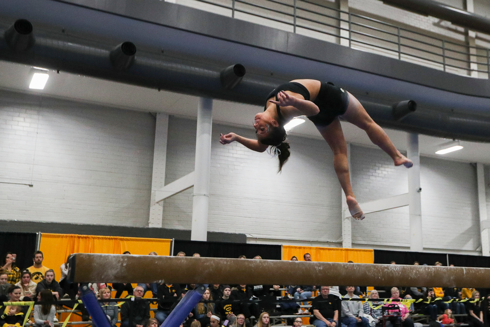 Ariana Agrapides performs on the beam during the Iowa women's gymnastics Black and Gold Intraquad Meet on Saturday, December 7, 2019 at the UI Field House. (Lily Smith/hawkeyesports.com)