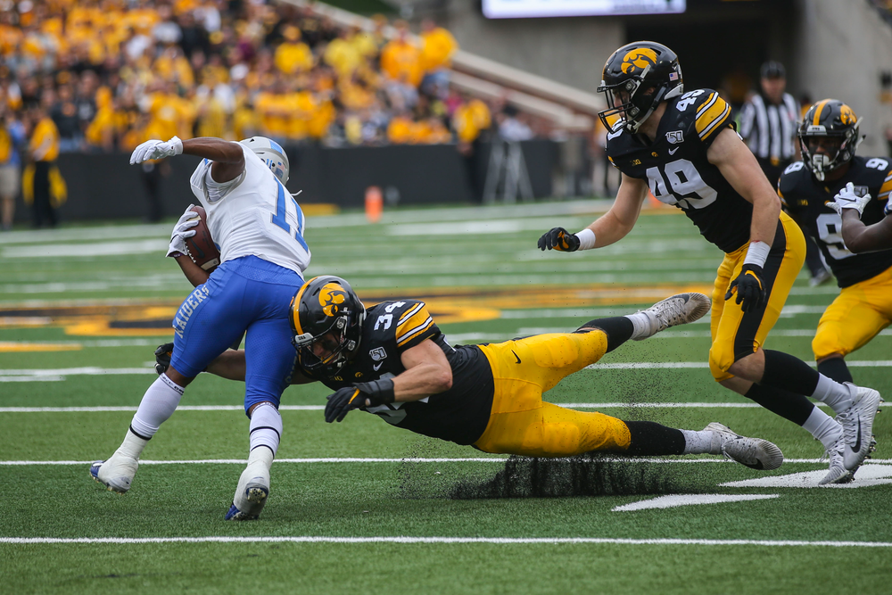 Iowa Hawkeyes linebacker Kristian Welch (34) and Iowa Hawkeyes linebacker Nick Niemann (49) against Middle Tennessee Saturday, September 28, 2019 at Kinnick Stadium. (Lily Smith/hawkeyesports.com)
