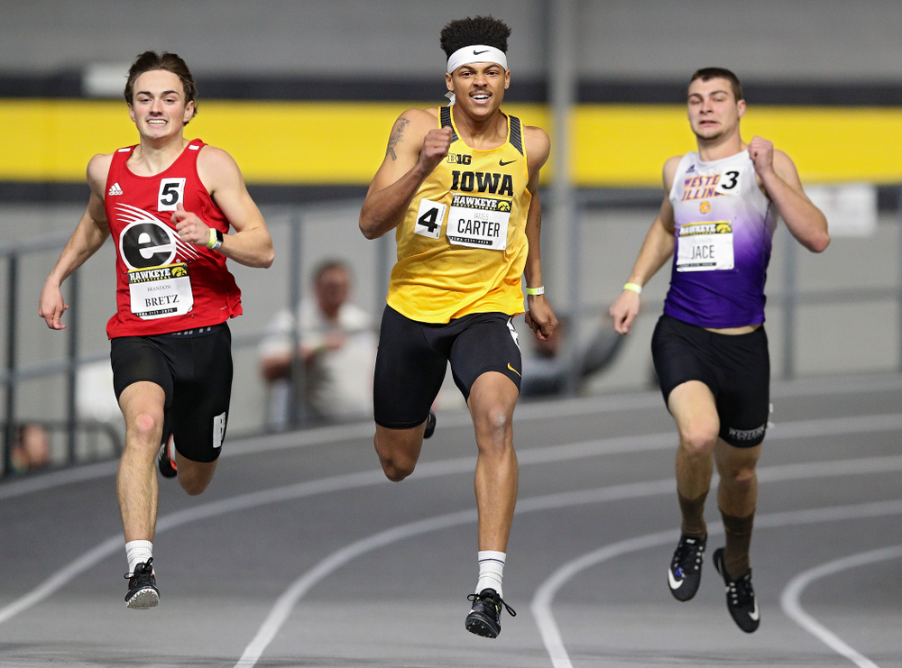 Iowa's James Carter runs the men's 200 meter dash event during the Hawkeye Invitational at the Recreation Building in Iowa City on Saturday, January 11, 2020. (Stephen Mally/hawkeyesports.com)