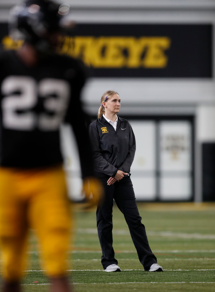 Hawkeye Football Athletic Trainer Kammy Powell during spring practice Wednesday, March 28, 2018 at the Hansen Football Performance Center.  (Brian Ray/hawkeyesports.com)