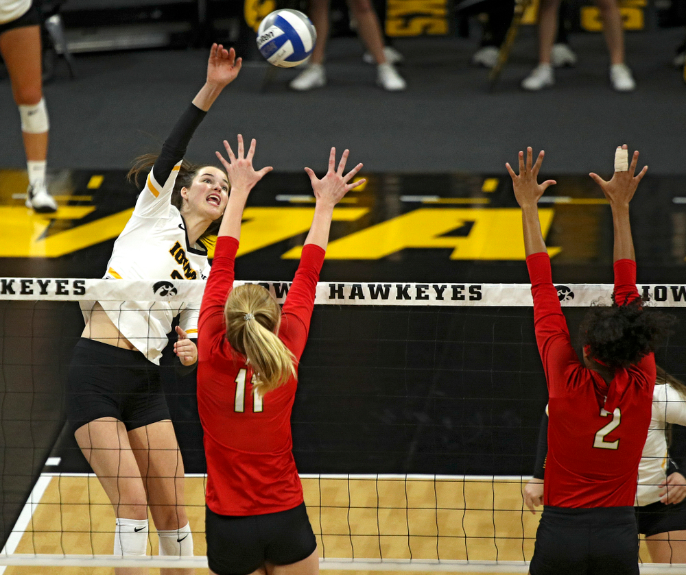 Iowa's Courtney Buzzerio (2) lines up a shot during the first set of their match at Carver-Hawkeye Arena in Iowa City on Saturday, Nov 30, 2019. (Stephen Mally/hawkeyesports.com)