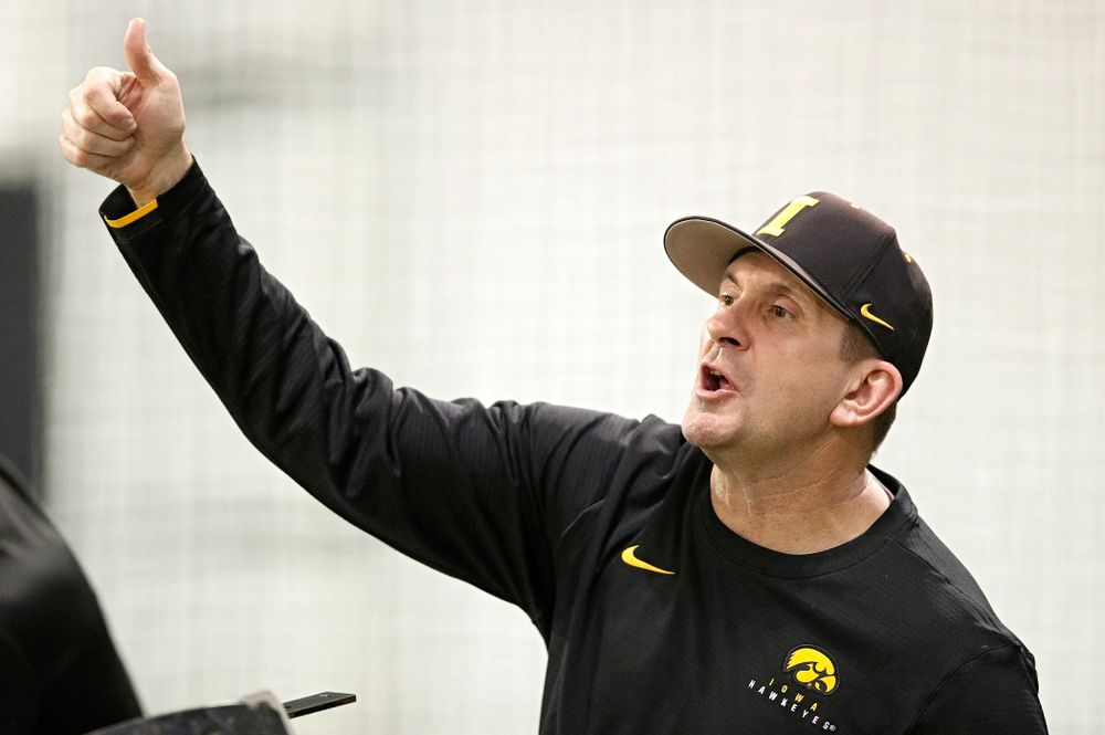 Iowa Hawkeyes head coach Rick Heller motions to his players during practice at the Hansen Football Performance Center in Iowa City on Friday, January 24, 2020. (Stephen Mally/hawkeyesports.com)