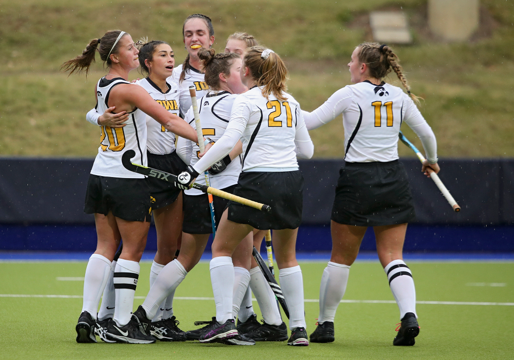 Iowa's Ciara Smith (17) celebrates her goal with teammates during the second quarter of their NCAA Tournament First Round match against Duke at Karen Shelton Stadium in Chapel Hill, N.C. on Friday, Nov 15, 2019. (Stephen Mally/hawkeyesports.com)