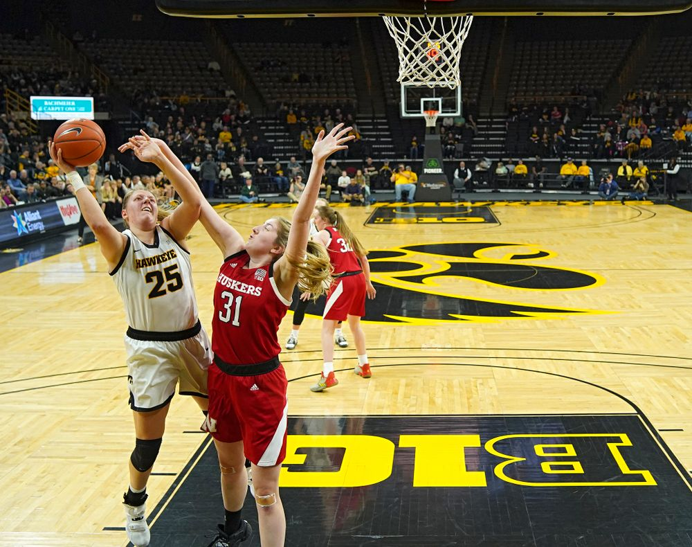 Iowa Hawkeyes forward Monika Czinano (25) puts up a shot during the second quarter of the game at Carver-Hawkeye Arena in Iowa City on Thursday, February 6, 2020. (Stephen Mally/hawkeyesports.com)