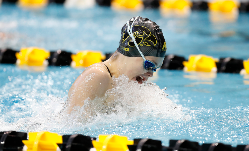 Saturday, January 13, 2018 (Brian Ray/hawkeyesports.com)Iowa's Natalie McGovern swims the breaststroke leg of the 200 yard medley relay Iowa's Lexi Horner swims the breaststroke leg of the 200 yard medley relay