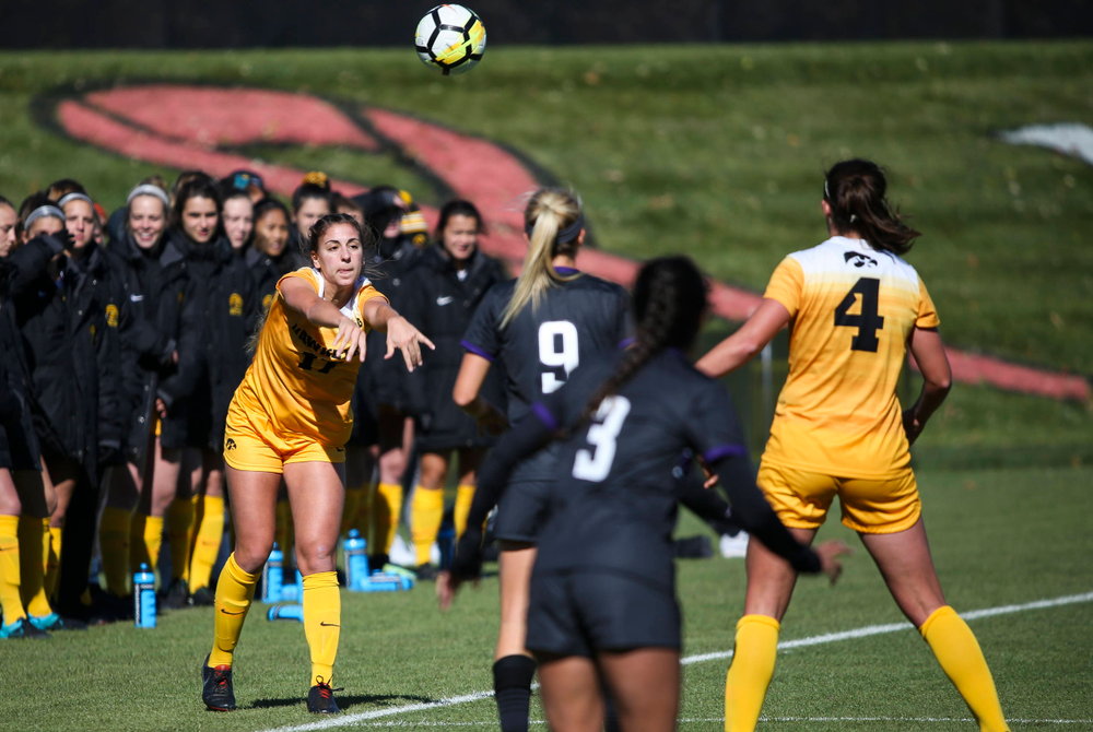 Iowa Hawkeyes defender Hannah Drkulec (17) throws the ball in during a game against Northwestern at the Iowa Soccer Complex on October 21, 2018. (Tork Mason/hawkeyesports.com)