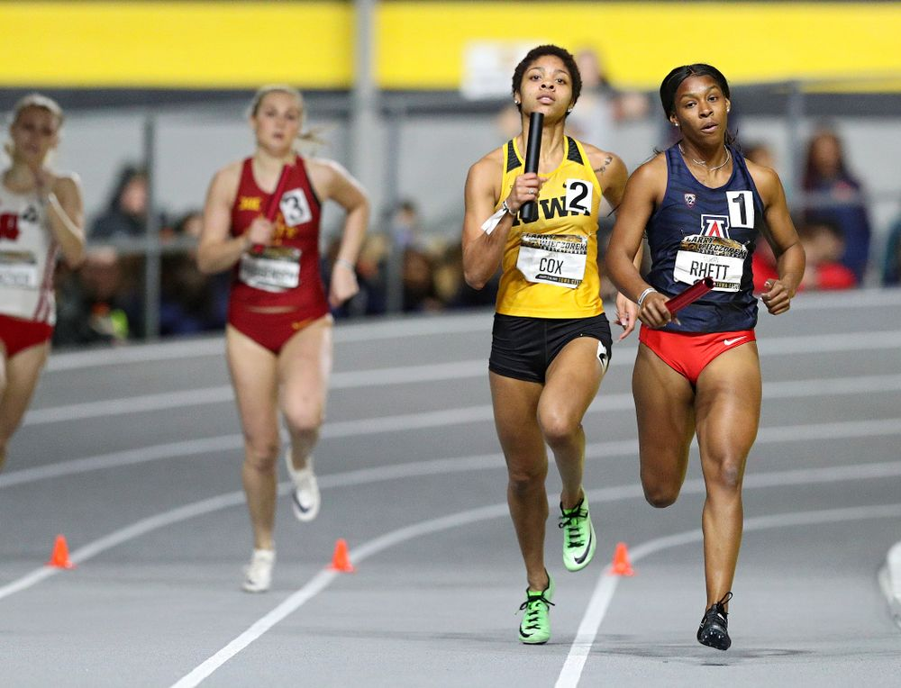Iowa's Mika Cox runs the women's 1600 meter relay event during the Larry Wieczorek Invitational at the Recreation Building in Iowa City on Saturday, January 18, 2020. (Stephen Mally/hawkeyesports.com)