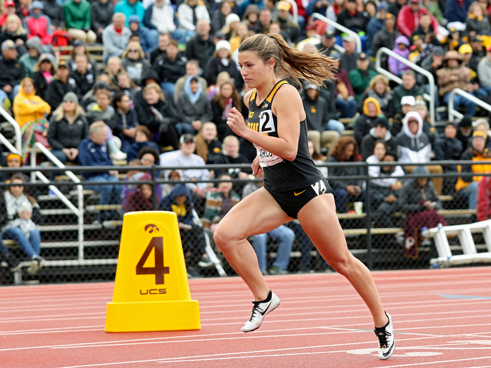 Iowa's Taylor Arco runs in the women's 800 meter event on the second day of the Big Ten Outdoor Track and Field Championships at Francis X. Cretzmeyer Track in Iowa City on Saturday, May. 11, 2019. (Stephen Mally/hawkeyesports.com)
