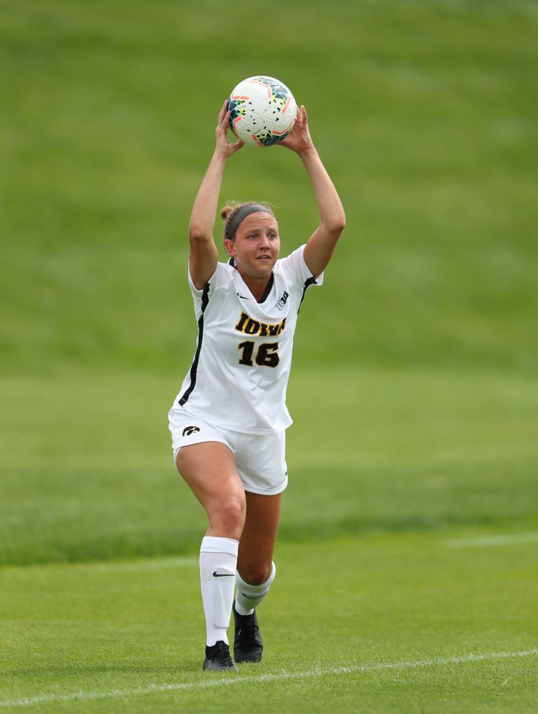 Iowa Hawkeyes midfielder Olivia Hellweg (16) during a 6-1 win over Northern Iowa Sunday, August 25, 2019 at the Iowa Soccer Complex. (Brian Ray/hawkeyesports.com)
