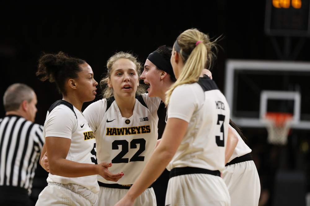 Iowa Hawkeyes forward Megan Gustafson (10), guard Kathleen Doyle (22), forward Hannah Stewart (21), guard Alexis Sevillian (5), and Makenzie Meyer against the Nebraska Cornhuskers Thursday, January 3, 2019 at Carver-Hawkeye Arena. (Brian Ray/hawkeyesports.com)