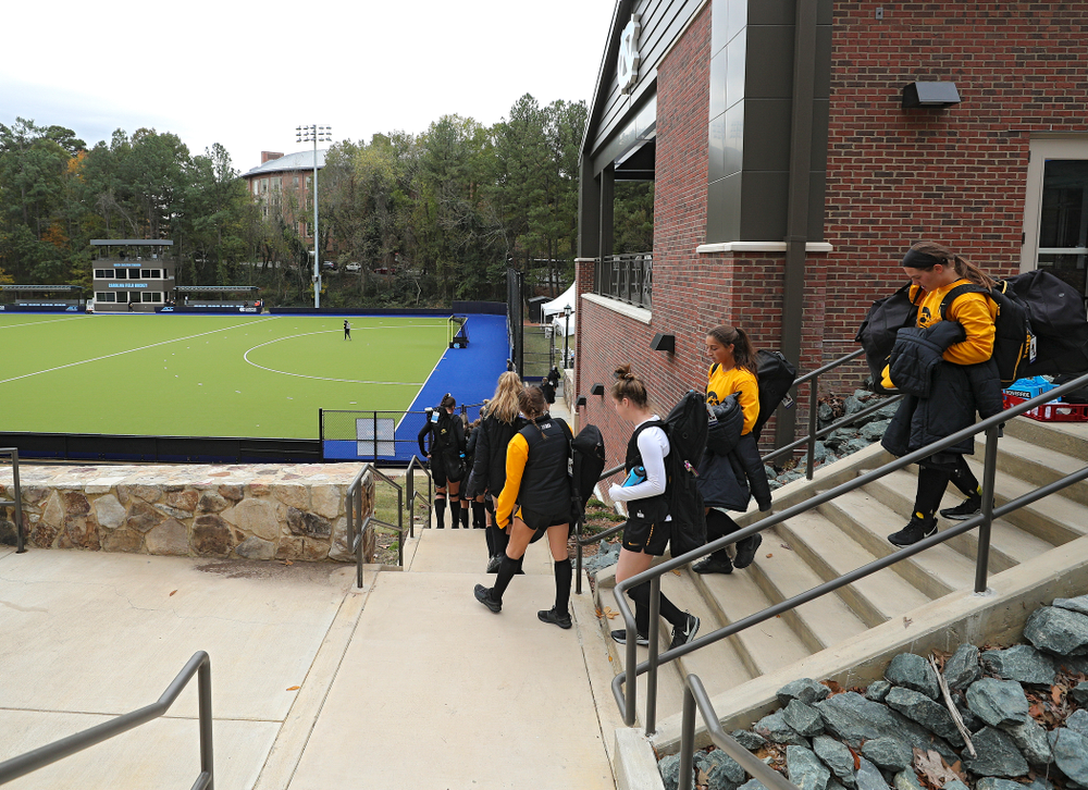 The Iowa Hawkeyes arrive for their practice at Karen Shelton Stadium in Chapel Hill, N.C. on Thursday, Nov 14, 2019. (Stephen Mally/hawkeyesports.com)