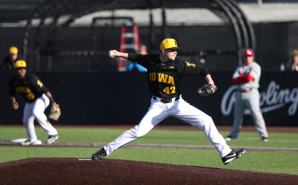 Iowa Hawkeyes Trace Hoffman (42) against the Bradley Braves Tuesday, March 26, 2019 at Duane Banks Field. (Brian Ray/hawkeyesports.com)