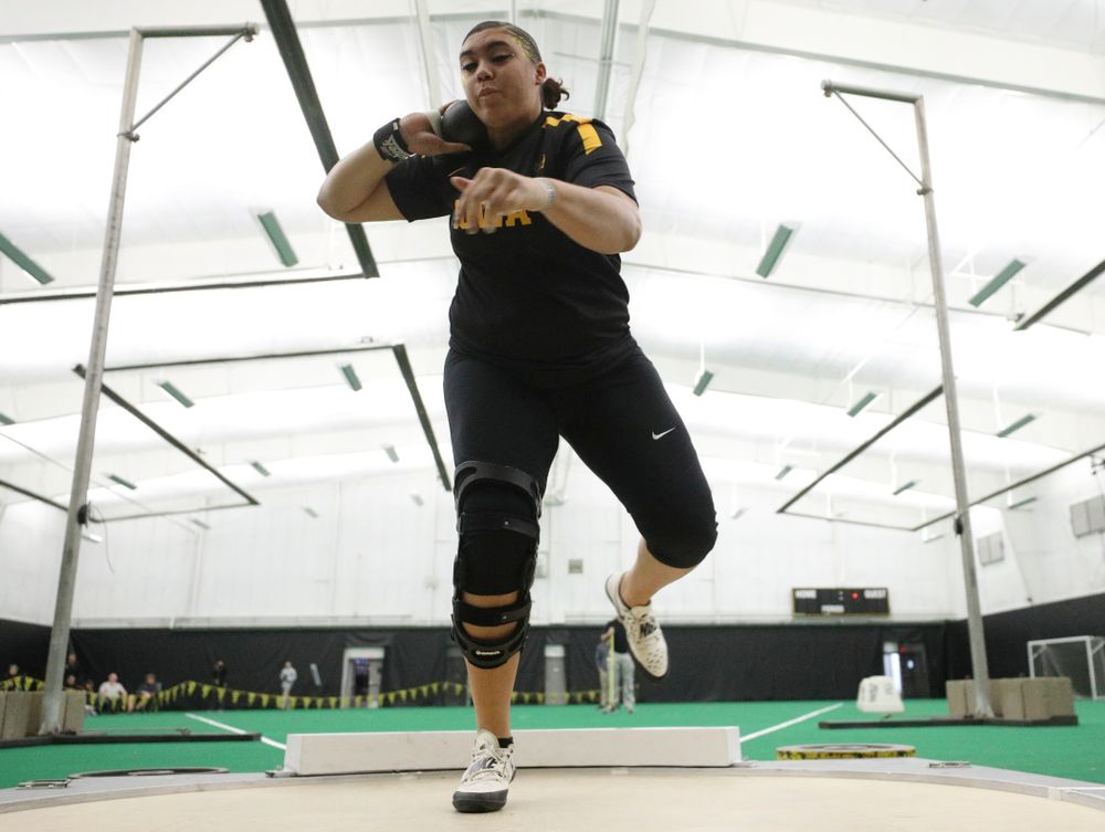 Iowa's Kat Moody throws in the women's shot put event during the Larry Wieczorek Invitational at the Hawkeye Tennis and Recreation Complex in Iowa City on Friday, January 17, 2020. (Stephen Mally/hawkeyesports.com)