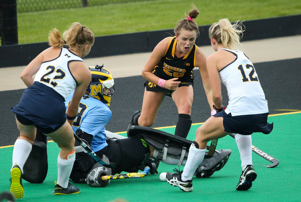 Iowa Hawkeyes forward Madeleine Murphy (26) fights for a rebound during a game against Michigan at Grant Field on October 5, 2018. (Tork Mason/hawkeyesports.com)