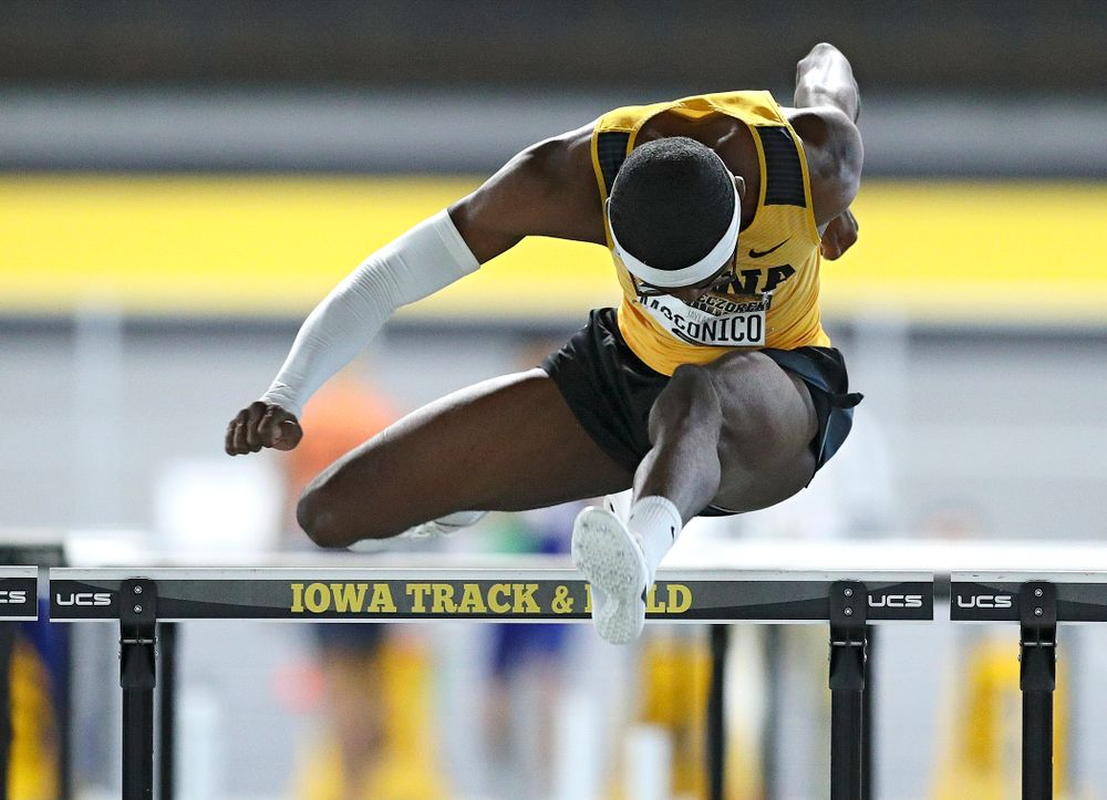 Iowa's Jaylan McConico runs the men's 60 meter hurdles premier event during the Larry Wieczorek Invitational at the Recreation Building in Iowa City on Saturday, January 18, 2020. (Stephen Mally/hawkeyesports.com)