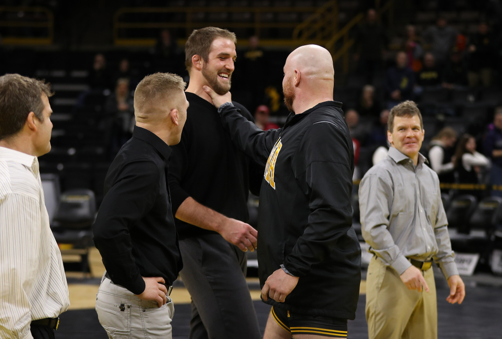 Iowa senior Sam Stoll during senior night following their meet against the Indiana Hoosiers Friday, February 15, 2019 at Carver-Hawkeye Arena. (Brian Ray/hawkeyesports.com)