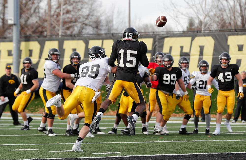 Iowa Hawkeyes defensive back Joshua Jackson (15) and wide receiver Matt VandeBerg (89)