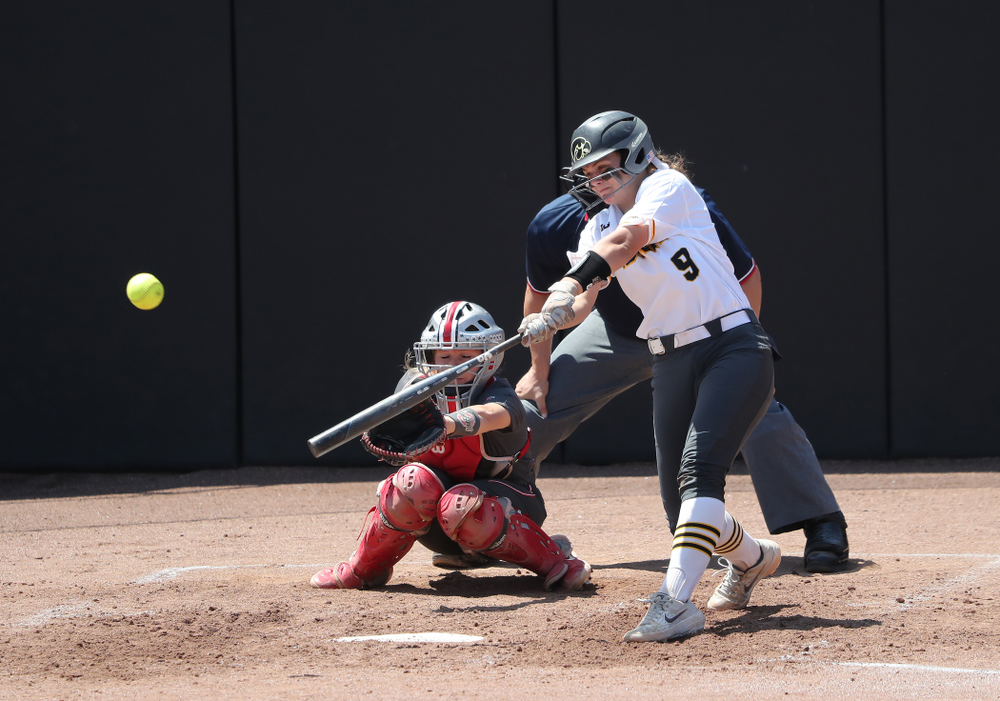 Iowa Hawkeyes Abby Lien (9) doubles against the Ohio State Buckeyes on senior day Sunday, May 5, 2019 at Pearl Field. (Brian Ray/hawkeyesports.com)