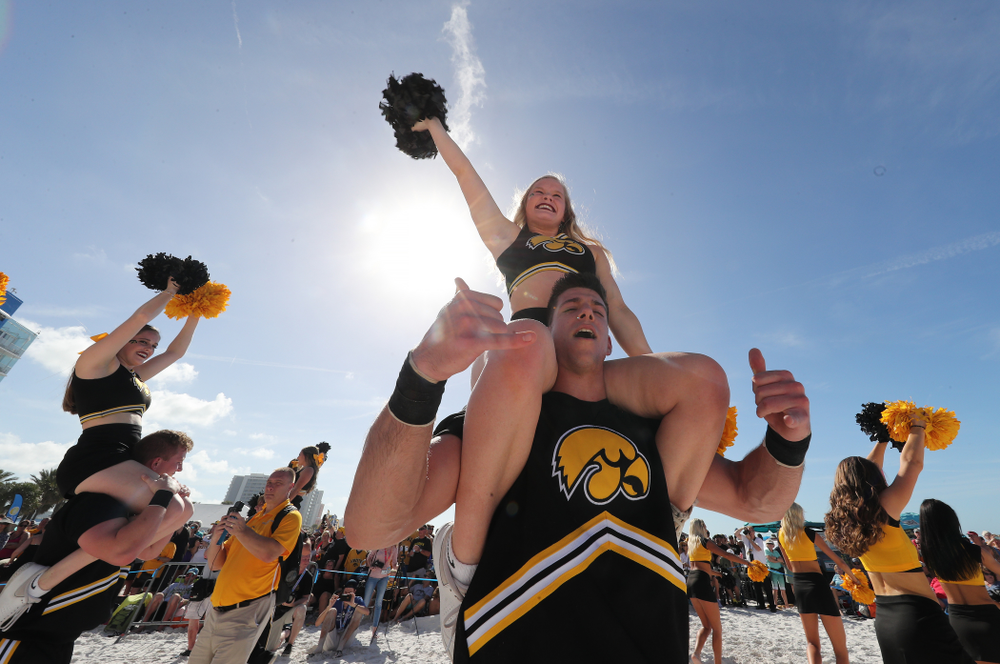 The Iowa Cheerleaders during the Outback Bowl Beach Day Sunday, December 30, 2018 at Clearwater Beach. (Brian Ray/hawkeyesports.com)