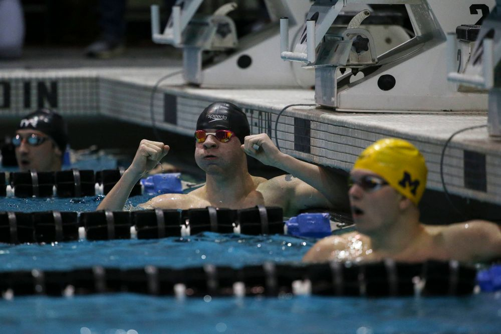 Iowa's Tanner Nelson at the 200-yard breaststroke race  Saturday, March 2, 2019 at the Campus Recreation and Wellness Center. (Lily Smith/hawkeyesports.com)