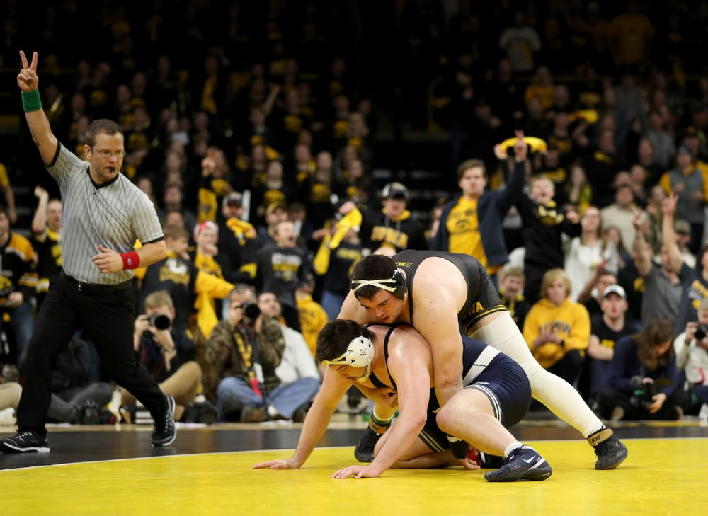 Iowa's Tony Cassioppi wrestles Penn State's Seth Nevills  at heavyweight Friday, January 31, 2020 at Carver-Hawkeye Arena. Cassioppi won the match 6-0. (Brian Ray/hawkeyesports.com)