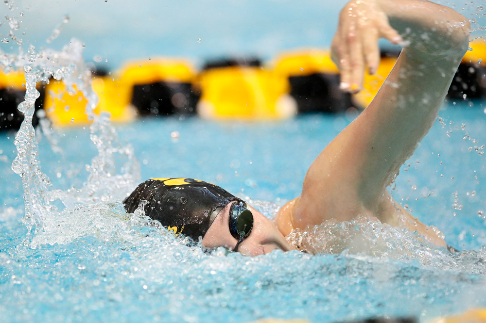 Iowa's Samantha Sauer swims in the women's 100 yard freestyle preliminary event during the 2020 Women's Big Ten Swimming and Diving Championships at the Campus Recreation and Wellness Center in Iowa City on Saturday, February 22, 2020. (Stephen Mally/hawkeyesports.com)
