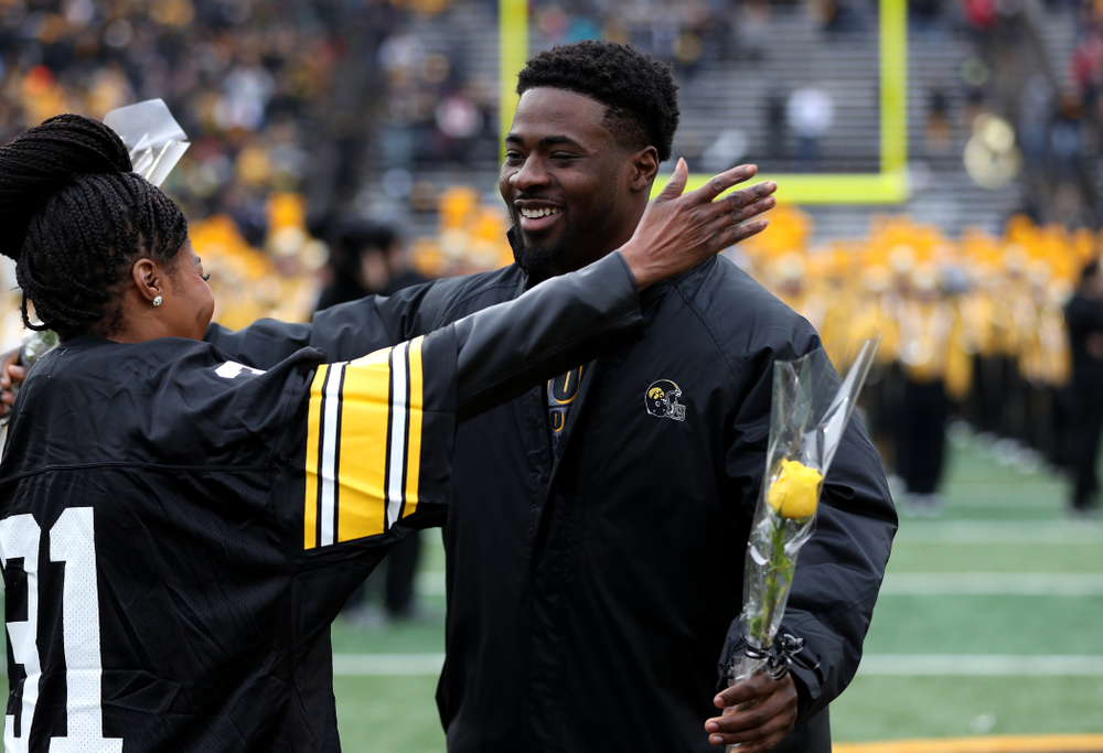 Iowa Hawkeyes linebacker Aaron Mends (31) during senior day activities before their game against the Nebraska Cornhuskers Friday, November 23, 2018 at Kinnick Stadium. (Brian Ray/hawkeyesports.com)
