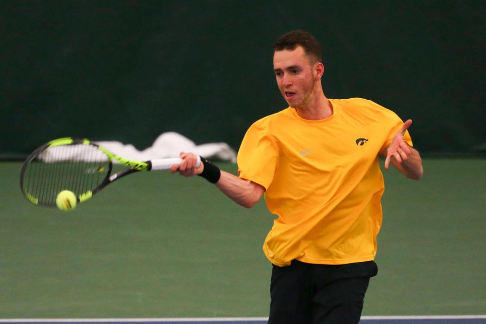 Iowa's Kareem Allaf at a tennis match vs Drake  Friday, March 8, 2019 at the Hawkeye Tennis and Recreation Complex. (Lily Smith/hawkeyesports.com)