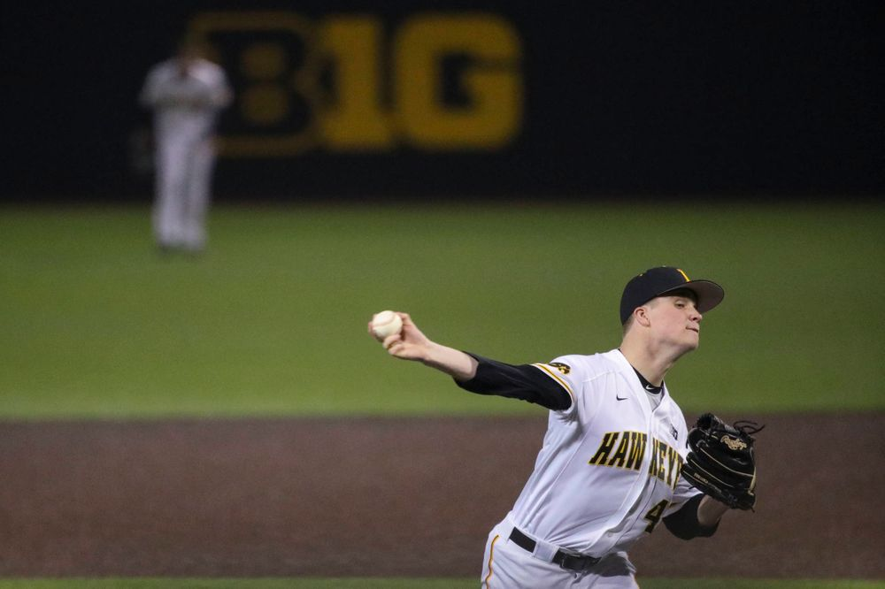 Iowa pitcher Trace Hoffman  at game 1 vs Rutgers on Friday, April 5, 2019 at Duane Banks Field. (Lily Smith/hawkeyesports.com)