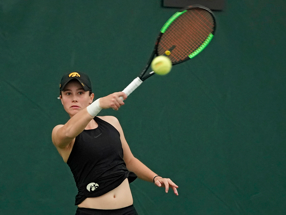 Iowa's Elise van Heuvelen Treadwell plays a match against Indiana at the Hawkeye Tennis and Recreation Complex in Iowa City on Sunday, Mar. 31, 2019. (Stephen Mally/hawkeyesports.com)