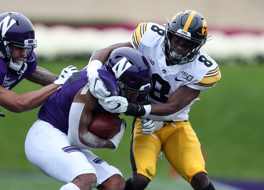 Iowa Hawkeyes defensive back Matt Hankins (8) against the Northwestern Wildcats Saturday, October 26, 2019 at Ryan Field in Evanston, Ill. (Brian Ray/hawkeyesports.com)