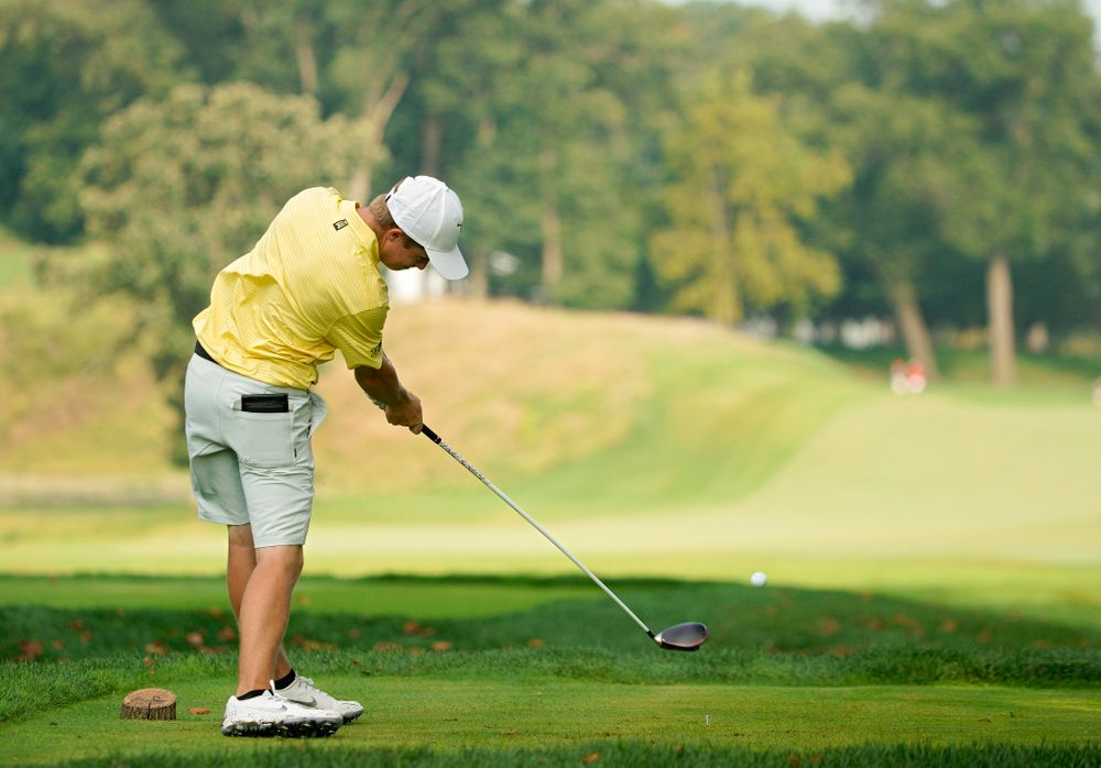 Iowa's Matthew Garside tees off during the third day of the Golfweek Conference Challenge at the Cedar Rapids Country Club in Cedar Rapids on Tuesday, Sep 17, 2019. (Stephen Mally/hawkeyesports.com)