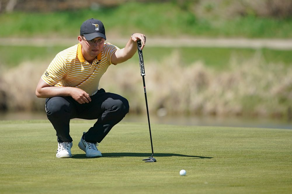 Iowa's Matthew Walker lines up a putt during the third round of the Hawkeye Invitational at Finkbine Golf Course in Iowa City on Sunday, Apr. 21, 2019. (Stephen Mally/hawkeyesports.com)