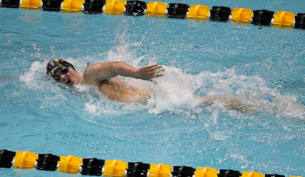 Iowa's Tom Schab competes in the 500-yard freestyle during a meet against Michigan and Denver at the Campus Recreation and Wellness Center on November 3, 2018. (Tork Mason/hawkeyesports.com)